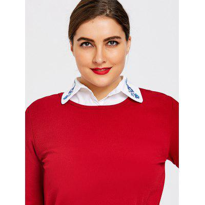 Plus Size Embroidered Shirt Dicky Detachable Collar