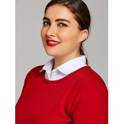 Plus Size Cotton Flat Shirt Detachable Collar