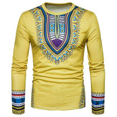 Buy YELLOW L Ethnic Style Dashiki Print Long Sleeve T-shirt for $20.85 in GearBest store