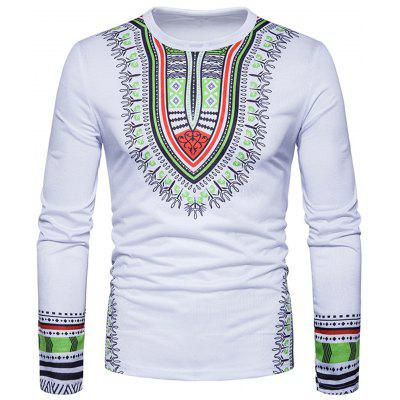 Buy WHITE XL Ethnic Style Dashiki Print Long Sleeve T-shirt for $20.85 in GearBest store