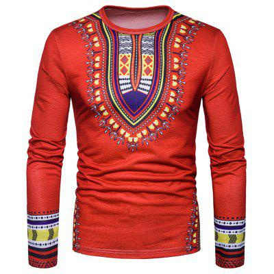 Buy RED L Ethnic Style Dashiki Print Long Sleeve T-shirt for $20.85 in GearBest store