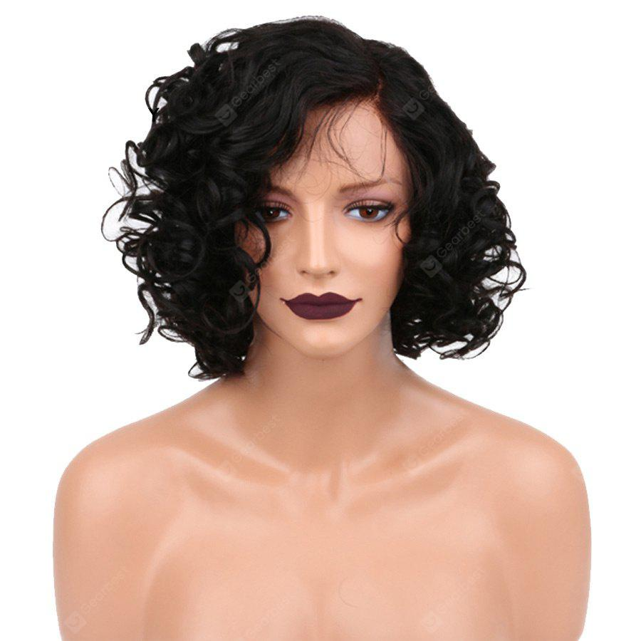 Short Side Parting Shaggy Curly Sintético Lace Front Wig