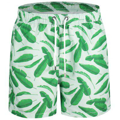 Leaf Print Swim Board Shorts
