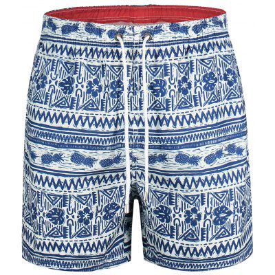 Drawstring Pineapple Printed Swim Trunks