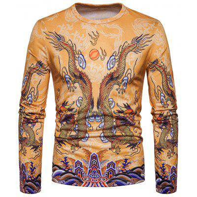 Crew Neck Chinese Style Dragons Print T-shirt