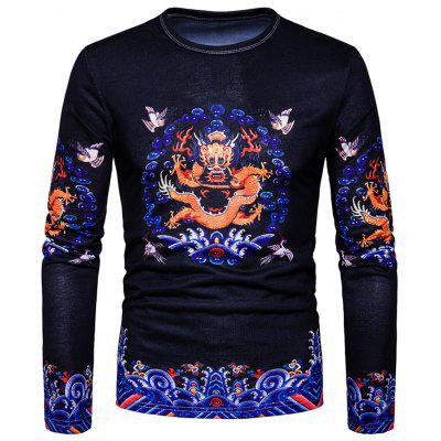 Vintage Chinese Dragon Print Long Sleeve T-shirt