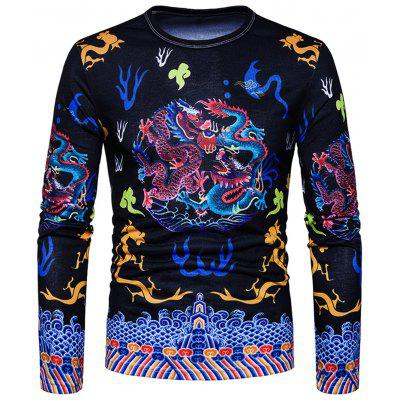 Chinese Style Dragons Print T-shirt