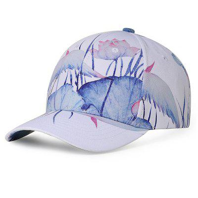 Unique Lotus Pattern Hand Drawing Baseball Hat