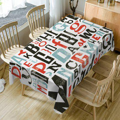 Letter Print Waterproof Dining Table Cloth