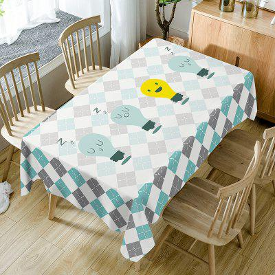 Cartoon Lamp Plaid Print Waterproof Dining Table Cloth