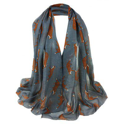 Jumping Fox Pattern Embellished Silky Long Scarf