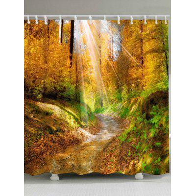 Waterproof Forest Pathway Sunshine Print Bath Curtain