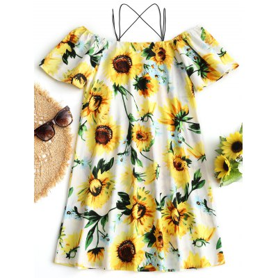 Sunflower Print Cami Beach DressLingerie &amp; Shapewear<br>Sunflower Print Cami Beach Dress<br><br>Cover-Up Type: Dress<br>Gender: For Women<br>Material: Polyester<br>Neckline: Spaghetti Straps<br>Package Contents: 1 x Dress<br>Pattern Type: Floral<br>Weight: 0.2500kg