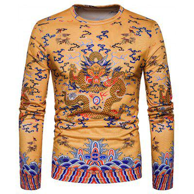 Chinese Style Dragon Print Long Sleeve T-shirt