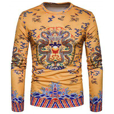 Chinese Style Dragons Print Long Sleeve T-shirt