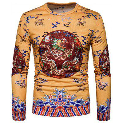 Chinese Style Dragon Printed Long Sleeve T-shirt