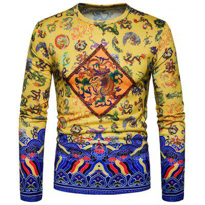 Chinoiserie Dragon Print Long Sleeve T-shirt