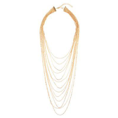 Alloy Fringed Chain Layered Necklace