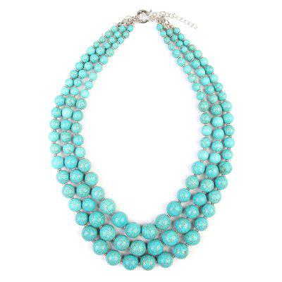 Bohemian Faux Turquoise Layered Beaded Necklace