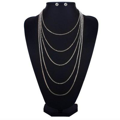 Rhinestone Layered Fringed Necklace and Earrings