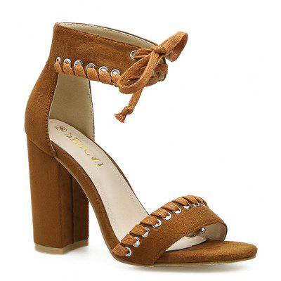 Ankle Tie Up Faux Suede Sandals