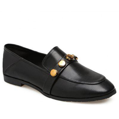 Preppy Style Metal Embellished Loafers