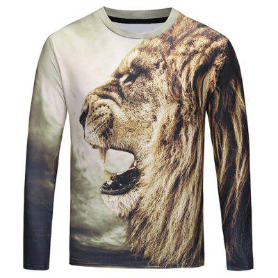 Crew Neck Roar Lion 3D T-shirt