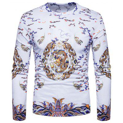 Chinese Style Vintage Dragons Print T-shirt