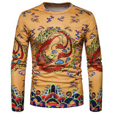 Chinese Style Phoenix Print Long Sleeve T-shirt