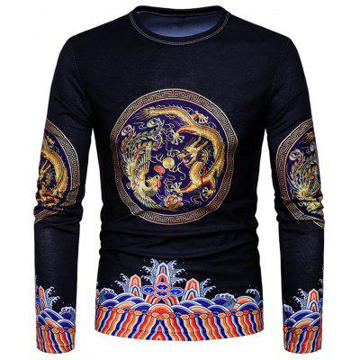 Vintage Dragon Print Long Sleeve T-shirt