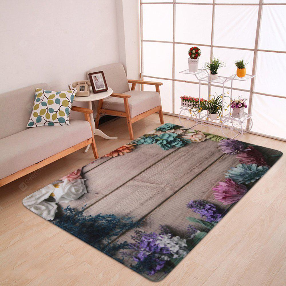 Wood Plank Flower Print Nonslip Coral Fleece Bath Mat