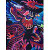 Chinese Style Dragons Print T-shirt - BLACK