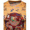 Chinese Style Dragon Printed Long Sleeve T-shirt - YELLOW