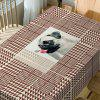 Dog Geometric Print Waterproof Dining Table Cloth - BROWN