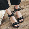 Ankle Tie Up Faux Suede Sandals - BLACK