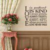 Sentence Patterned Wall Decal about Love - BLACK