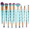 Professional 15Pcs Zircon Pattern Ultra Soft Makeup Brush Set - GREEN