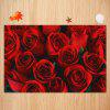 Valentine's Day Rose Pattern Indoor Outdoor Area Rug - RED