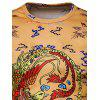Chinese Style Phoenix Print Long Sleeve T-shirt - YELLOW