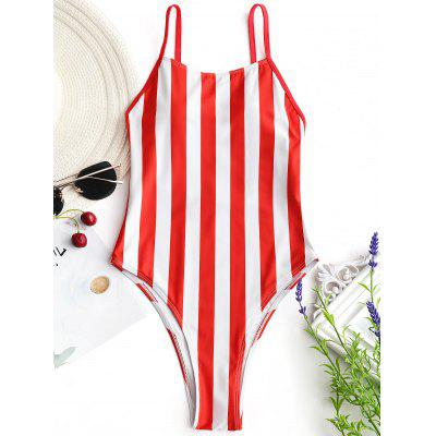 где купить One Piece High Cut Striped Swimwear дешево