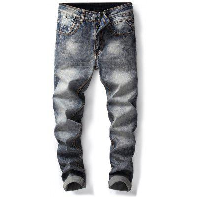 Zipper Fly Bleach Wash Straight Leg Ripped Jeans