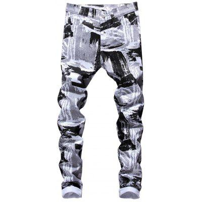 Zipper Fly Painting Print Skinny Jeans