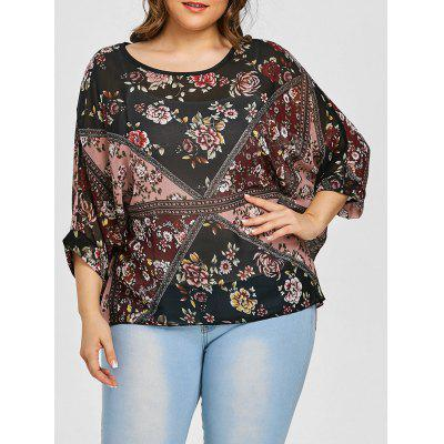 Mixed Floral Plus Size Chiffon Top