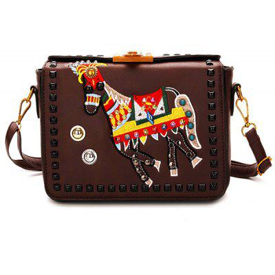 Buy BROWN Studded Animal Embroidery Crossbody Bag for $30.54 in GearBest store