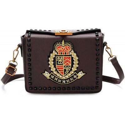 Buy BROWN Studs Embroidery Crossbody Bag for $30.22 in GearBest store