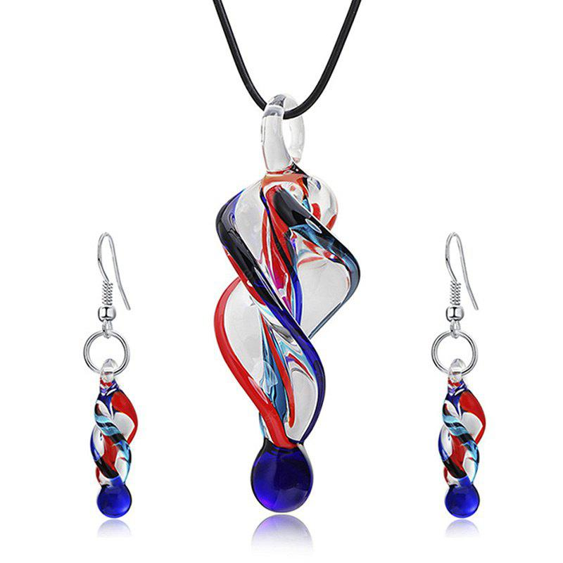 Spiral Shape Glass Necklace with Earrings