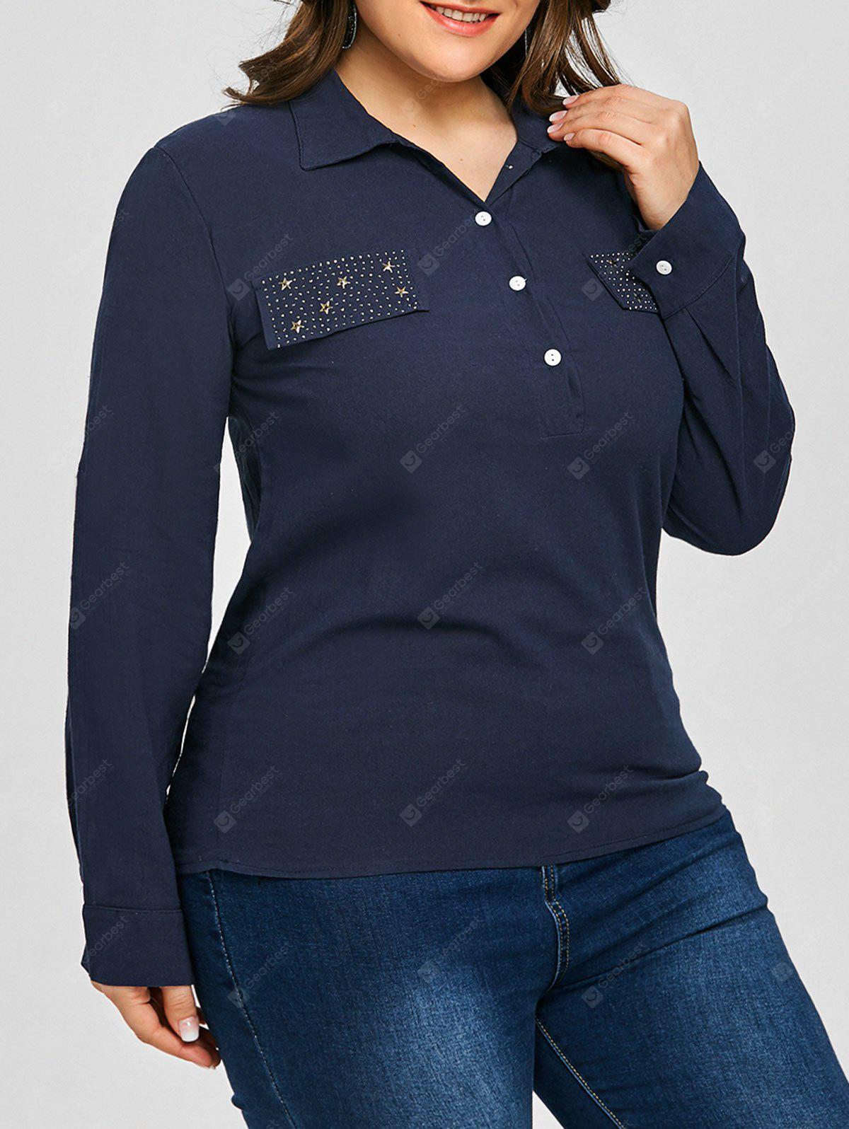 Plus Size Rivet Star Half Button Shirt