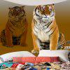 Tiger Print Wall Art Tapestry - BROWN
