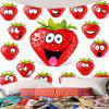 Strawberry Funny Emoji Wall Decorative Tapestry - RED