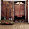 Retro Wooden Doors Printed Wall Art Tapestry - BROWN
